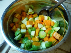 Prepared Squash and Brussels Sprouts