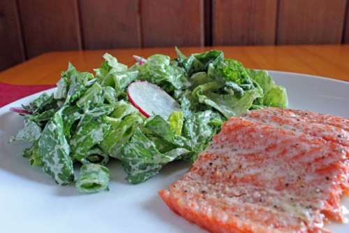 Salad and Salmon