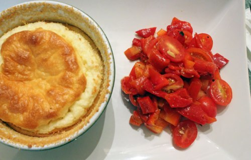 Cheese Soufflé & Tomato and Pepper Salad