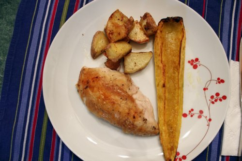 Roast Chicken, Potatoes, and Delicata Squash