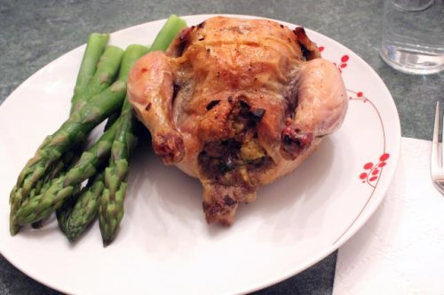 Sausage-Stuffed Cornish Hens