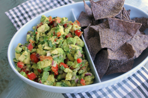 Guacamole with Tomatoes and Bell Peppers