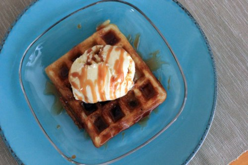 Waffles with Ice Cream and Caramel Sauce