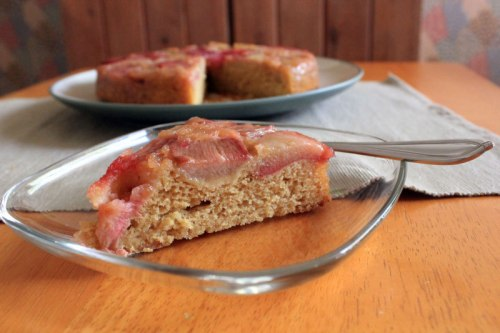 Rhubarb Upside-Down Brown Sugar Cake