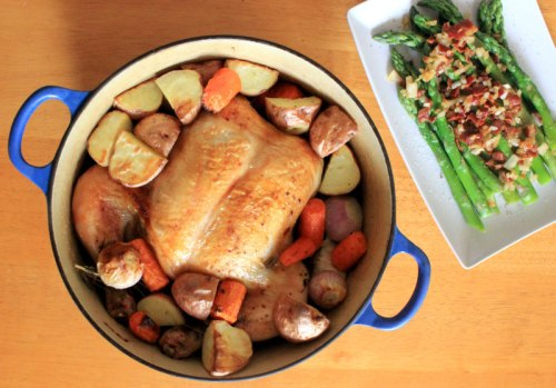 Roast Chicken for Lazy People with Asparagus and Bits of Bacon